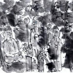 時々、奈良遊、岩船寺、浄瑠璃寺、当尾の里あたりを廻る−08、野仏巡りへ、藪の中の三仏磨崖像。