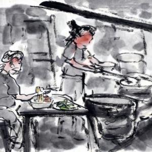 コロナ日和の日々、妄想の旅に出る。V国へ、H市からF市へ列車の旅−14、H街に行く前に朝飯を食う。