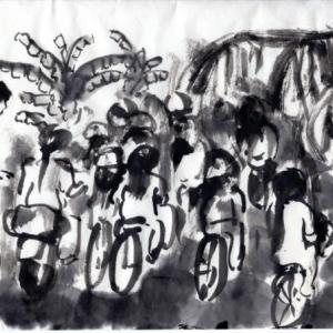 コロナ日和の日々、妄想の旅に出る。V国へ、H市からF市へ列車の旅−31、学校帰りの女学生。