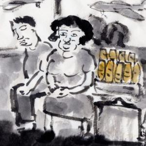 コロナ日和の日々、妄想の旅に出る。V国へ、H市からF市へ列車の旅−32、フランスパンを運ぶおばちゃん。
