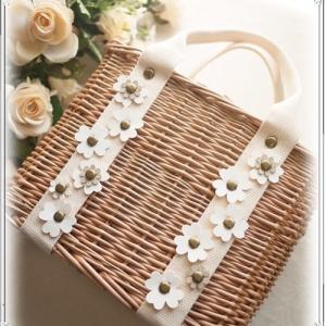 ☆お花モチーフの可愛いかごバッグ♪*:..。o○☆