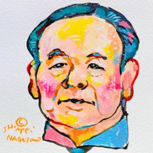 渋沢栄一さんの似顔絵。モーニングYouTube