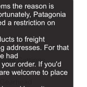 backcountry.com でpatagoniaは転送できない
