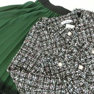 DHOLIC戦利品!エレガントなツイードジャケットと華やかレースプリーツスカート