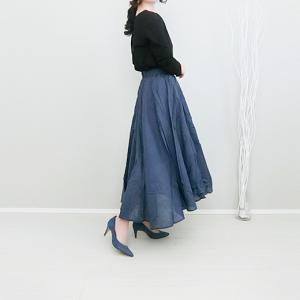 Re:EDITの軽やかなコットンフレアスカートできれいめ春コーデ!