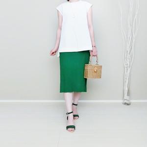 Myuバックスカラップブラウスとグリーンスカートで夏コーデ!