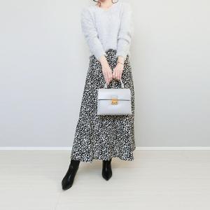 しまむら900円ニット×レオパード柄スカートで旬コーデ!