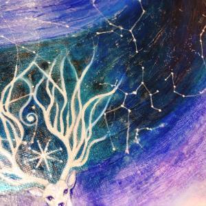 星樹💫制作過程11 (星打ち・神鹿の描き込み・サイド仕上げ)