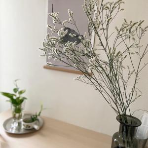 玄関のお花。飯田牧場へ