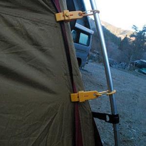 薪ストとテントの干渉対策は煙突ガードだけでは役不足・幕体生地をガッチリ固定するアイテムは…