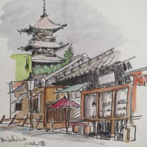 土産店と八坂の塔