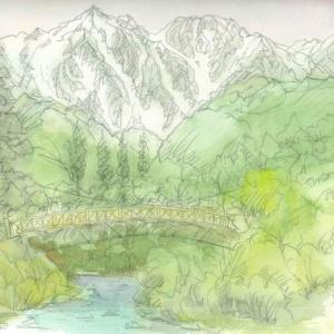 吊り橋と白馬岳