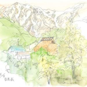 茅葺屋根と白馬岳