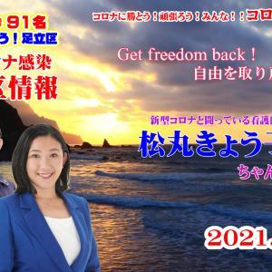 足立区 松丸きょう子さんの2021年9月7日 足立区コロナ感染情報 【4K】