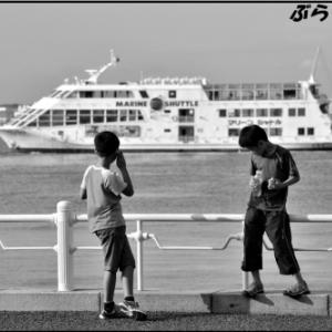 夏休みで子供が多い横浜港