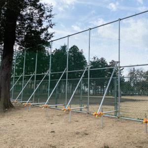 市内某公園の防球ネット設置
