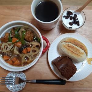 酢鶏とコストコパンで朝ごはん♪