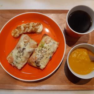 ピザトーストとかぼちゃスープの朝♪