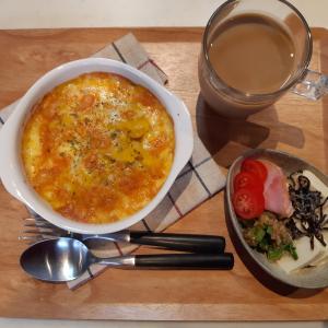 かぼちゃのグラタンと冷奴で朝ご飯♪