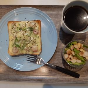 ピザトーストで朝ご飯♪
