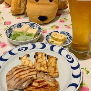 豚肉グリルと白菜・高野豆腐の煮物と明太子卵焼き