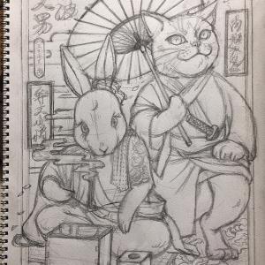 1[ 弁天兎猫ノ白波 ] 革ジャンペイント