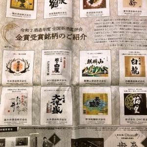 全国新酒鑑評会 金賞受賞酒蔵 新聞掲載