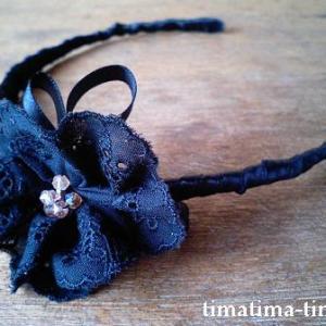 ハンドメイドカチューシャ♪子供用の手作りワイヤー製ヘアーバンドの作り方 女の子が大好きな大きなリボンの髪飾り 針金・レース・水玉・小花・黒・ピンク・ビーズ