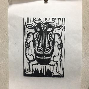 12/13(日)木版画牛を彫ろう!