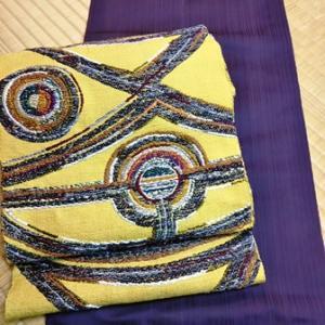 メザシ(試し織り)と八寸帯「古代アフリカ文」