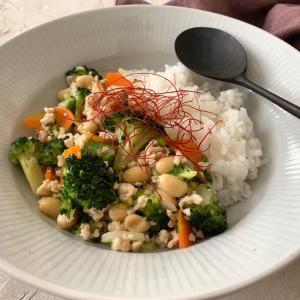 疲れた胃腸に 豆と野菜のあんかけご飯