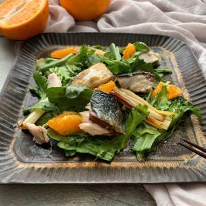 レシピあり!焼きサバと春菊と季節の柑橘のサラダ