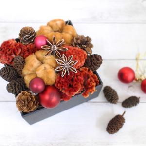 【フラワーレシピ掲載されました】ブラウンコットンとドライケイトウのクリスマスボックスアレンジ