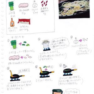小松菜と豚肉のパスタ