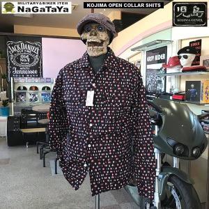 児島ジーンズ KOJIMA GENES ダイヤパターン オープンカラー ロングスリーブ シャツ。