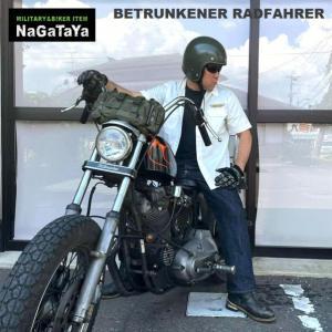 BETRUNKENER RADFAHRER ワッペン付 T/C ワークシャツ ホワイト