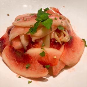 東銀座 クラッティーニの桃のパスタでお祝い