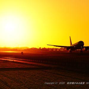 RWY07の夕陽