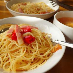 昼飯は家でアーリオ・オリオ・ペペロンチーノ