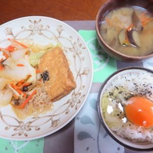 朝:厚揚げと野菜の煮物、具沢山味噌汁&ぶっかけ卵御飯 昼:ミルク🍞、牛肉コロッケ&焼鳥ももタレ 夜:いわし煮つけ、生ハム、サラダ、おから煮&紫蘇ジュース