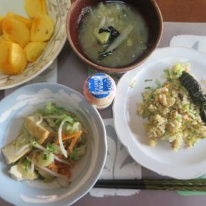 朝:チャーハン、野菜・厚揚げ煮サラダ&柿 昼:🍠&柿 夜:牛蒡入りハンバーグ、サラダ&めかぶ