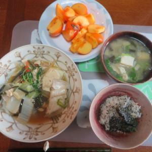 朝:カワハギと野菜の煮込み、みそ汁&野菜ジュース 昼:🍠&柿 夜:豚肉野菜味噌炒め&お好み焼き
