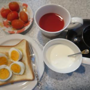 朝:ゆで卵トースト、トマト、トマトジュース、ヨーグルト・牛乳&コーヒー 昼:夜: