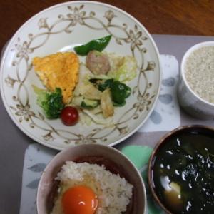 朝:卵焼き、豚肉サラダ、ワカメ汁&野菜ジュース 昼:シャインマスカット 夜:上生寿司、野菜煮物(蓮根、豚肉、🥕、こんにゃく)、カボチャ煮、絹ごし豆腐
