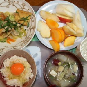 朝:厚揚げ・野菜煮込み、卵御飯、具沢山味噌汁、野菜ジュース&果物ミックス 昼:ツイストドーナツ3本、焼鳥ももタレ&サバスベリーミックス 夜:あたご食堂のかつ重
