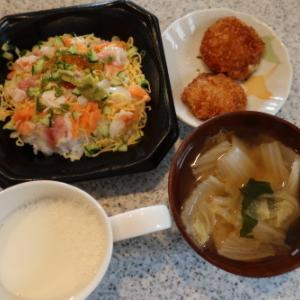 朝:海鮮バラちらし、ヒレカツ、味噌汁&ヨーグルト 昼:三種餅&黒豆煮 夜:鯖&鮭の西京焼き、トースト&野菜ジュース