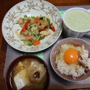 朝:豚肉入り野菜煮込み、卵御飯、味噌汁&野菜ジュース 昼:サバスプロテインヨーグルト、焼鳥ももタレ&メロンパン 夜:鯖添えカレーライス&蒸かし🍠