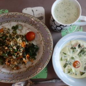 朝:菜チャーハン、クリームシチュー&野菜ジュース 昼:くら寿司の寿司 夜:さつま揚げ添え野菜ちらし寿司、キュウリの粕漬け&メロン