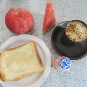 朝:トースト&コヒー 昼:バンバンジー、茄子漬・きゅうり漬け&茄子みそ汁 夜:野菜・小魚・ソーセージのかき揚、紫蘇🍙&骨付き鶏もも煮