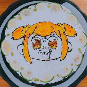 【ポプテピピック ポプ子*レアチーズケーキ】と、おまけ失敗作【ちらし寿司ケーキ】